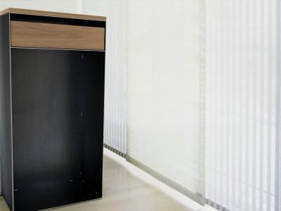 Designkaminholzregal für Innen | Rohstahl mit Eiche